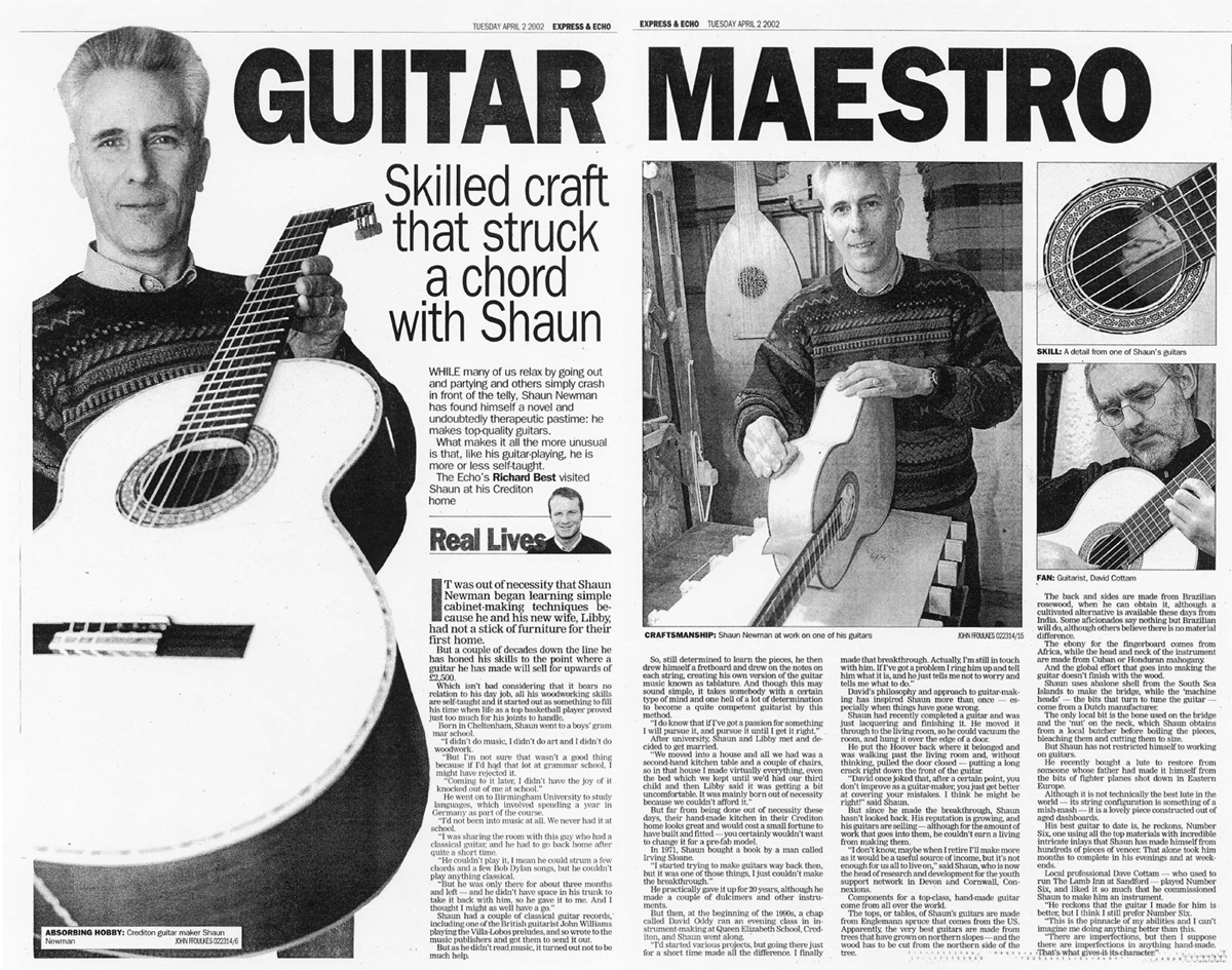 Express and Echo article about Shaun Newman's guitars,Apr2002