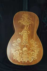 Italian salon guitar inlaid with boxwood
