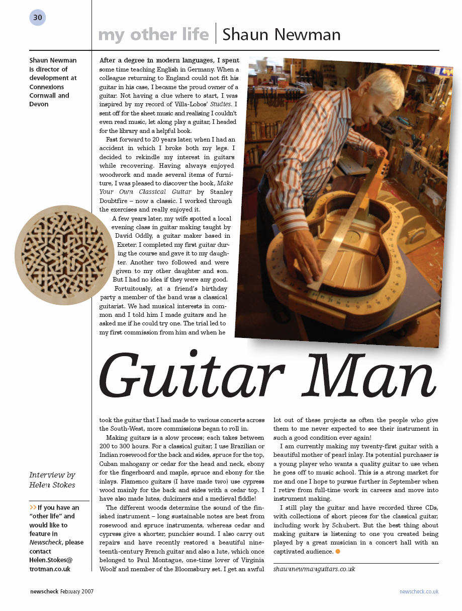 Article about Shaun Newman's classical guitars, in 'Newcheck', Feb 2007